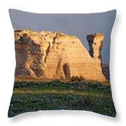 Monument Rocks Panorama Throw Pillow