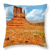 Monument Valley In Spring Panoramic Painting Throw Pillow