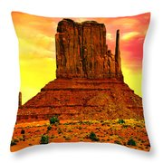 Monument Valley Right Mitten Sunrise Painting Throw Pillow