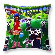Moo Cow Farm Throw Pillow