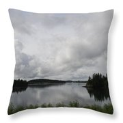 Moody Sky Over Campobello Bay Throw Pillow