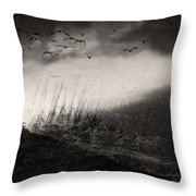 Moody Sunrise With Grasses And Birds Throw Pillow