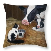 Mooeow Throw Pillow