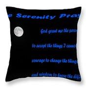 Moon - Serenity Prayer - Blue Throw Pillow