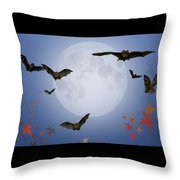 Moon And Bats Throw Pillow