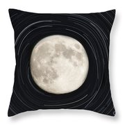 Moon And Startrails Throw Pillow