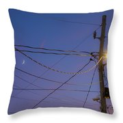 Moon And Wires Throw Pillow