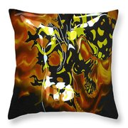 Moon Bath With Burning Skull Throw Pillow