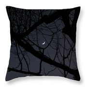 Moon Beyond Tree IIi Throw Pillow