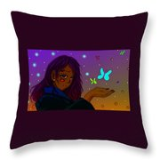 Moon Flies Throw Pillow by Antonio Mason