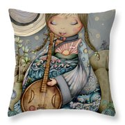 Moon Guitar Throw Pillow