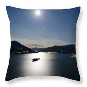 Moon Light Reflected Over An Alpine Lake Throw Pillow