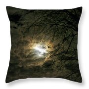 Moon Light With Clouds Throw Pillow