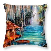 Moon On The Bayou Throw Pillow