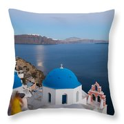 Moon Over Blue Domed Church In Oia Santorini Greece Throw Pillow by Matteo Colombo