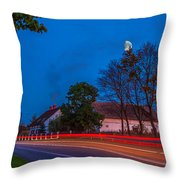 Moon Over E77 Road In Warmia Region In Poland Throw Pillow