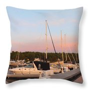 Moon Over Egg Harbor Marina Throw Pillow