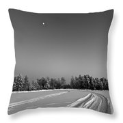 Moon Over Ice Road Throw Pillow