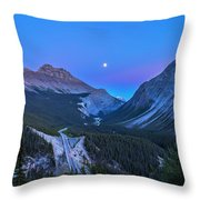 Moon Over Icefields Parkway Throw Pillow
