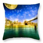 Moon Over Manhattan Throw Pillow by Mark E Tisdale