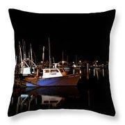 Moon Over Marina 1 - Sheepshead Bay Brooklyn New York Throw Pillow