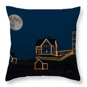 Moon Over Nubble Light Throw Pillow