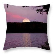 Moon Over Parks Pond Throw Pillow