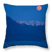 Moon Over Santorini Throw Pillow by Brian Jannsen