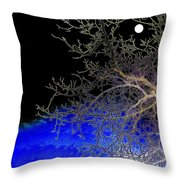 Moon Over Sapphire Pond Throw Pillow