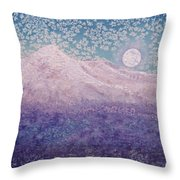 Moon Over Snowy Peaks Throw Pillow