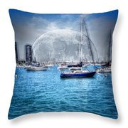 Moon Over The City Harbor Throw Pillow