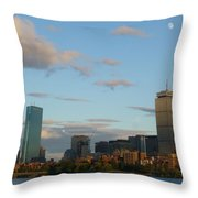 Moon Over The Prudential In Boston Throw Pillow