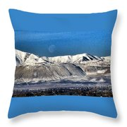 Moon Over The Snow Covered Mountains Throw Pillow