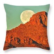 Moon Over Tucson Mountains Throw Pillow