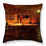 Moon Over Udaipur Painted Version Throw Pillow