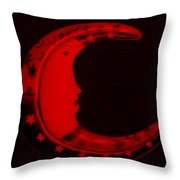 Moon Phase In Blood Red Throw Pillow