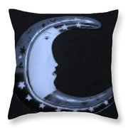 Moon Phase In Cyan Throw Pillow