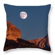 Moon Rise Over Cimarron Mountain Range Throw Pillow