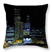 Moon Rise Over Downtown Chicago And The Willis Tower #2 Throw Pillow