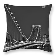 Moon Rise Over The George Washington Bridge Bw Throw Pillow