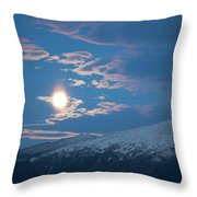 Moon Rise Over The Presidential Range Throw Pillow