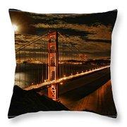 Moon Rise San Francisco Golden Gate Bridge Throw Pillow