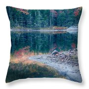 Moon Setting Fall Foliage Reflection Throw Pillow