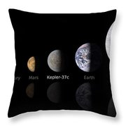 Moon Size Line Up Throw Pillow