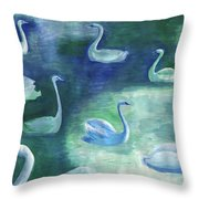 Moon Swans Throw Pillow