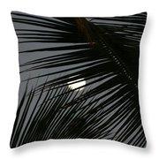 Moon  Through Palm Trees Throw Pillow