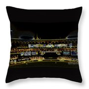 Moon In The Arches In Neon Throw Pillow