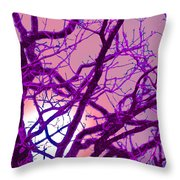 Moon Tree Pink Throw Pillow by First Star Art