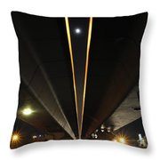 Moon Visible Between The Flyover Gap Throw Pillow