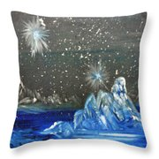 Moon With A Blue Dress Throw Pillow